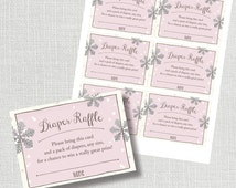 Baby It's Cold Outside diaper raffle insert card - pink and silver snowflakes - instant download