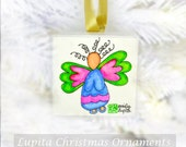 Christmas Ornament: ORIGINAL Watercolor Painting on Canvas - Unique Handmade Holiday Christmas Gift Christmas Tree Angel Decoration
