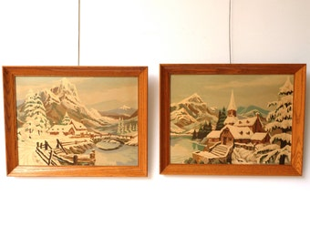 Vintage Large Framed Paint By Numbers Art Pair - Winter Snow Landscape PBN Paintings - 14 x 18