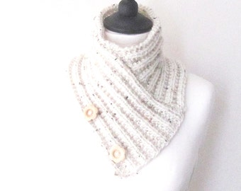 Cream knitted cowl, creme button scarf, knitted neckwarmer, bandana scarf, Mother's day gift, uk scarves, boho scarves, ladies scarf,