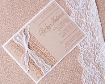 BECKY: Kraft and Lace Wedding Invitation, Unique Burlap Ivory Shower Invitation, Country Rustic Wedding Invitation
