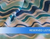 RESERVED LISTING for TryAll:  Chevron stripe blanket - blues - handmade crochet - childs bed blanket