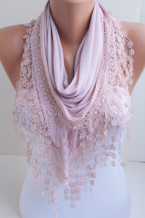 Pink Shawl Scarf   with Lace Scarf Fashion Woman Accessories Christmas Gift DIDUCI