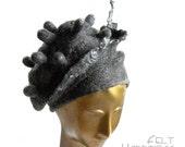 Grey Felt Beret for Woman - Lagenlook Felted Hat - Sculptural Wearable Art - Textured Fiberarts - Unique Statement Piece