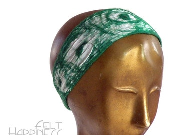 White and Green Headband for Woman - Boho Style Nuno Felt Head band - Hair Accessory Gift for Her