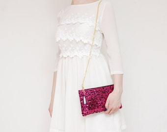 SALE! Sequin clutch bag. Small shoulder purse. Bridesmaid gift. Bridal purse. Sparkly crossbody bag. Romantic bag. Clearance sale. /KATE 13