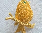 Vintage Brooch Bird on Branch Gold Tone