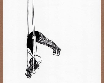 Hang in There - digital print, drawing, trapeze artist, aerial acrobat, circus, black and white, sketchbook, suspended