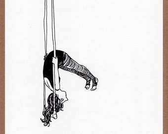 Hang in There - digital print, illustration, trapeze artist, aerial acrobat, circus, black and white, sketchbook, suspended