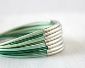 Bohemian Jewelry Silver Tube Multistrand Leather Wrap Bracelet Green Mint Teal Boho Chic