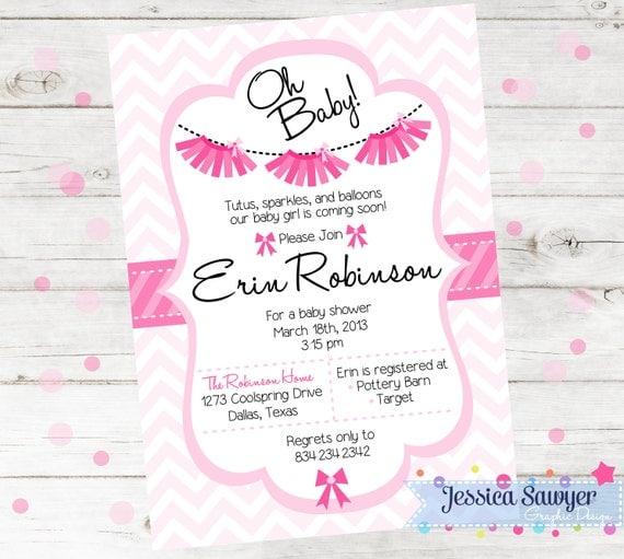 tutu baby shower invitation printable tutu invite girls baby shower