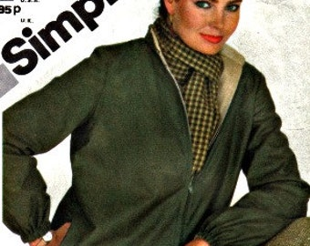 Misses Zip Front Reversible Bomber Jacket Simplicity 9978 Fast and Fabulous Size 12 Bust 34