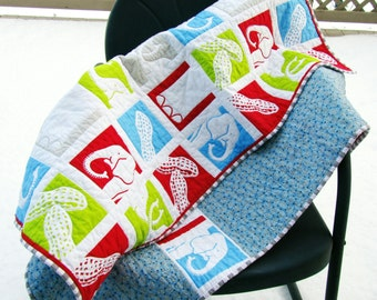 Elephant Baby Boy Quilt Bright Red Green Blue Circus