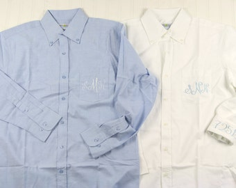 Personalized Chambray Oxford Shirt - Monogrammed Bridesmaids Gifts - Mens Oversized Poplin White Dress Shirts - Monogram Bridesmaids Shirts