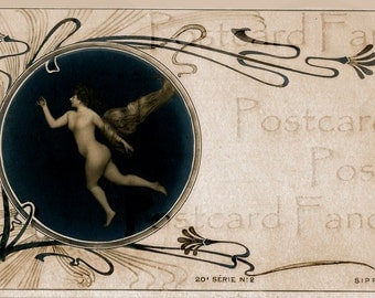 DAZZLING Art Nouveau Angel Real Photo FRANCE, Instant DIGITAL Download