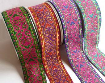 Vibrant contrast Jacquard Luxury Ribbon - Folk Ethnic Style 50mm wide - sold by the metre