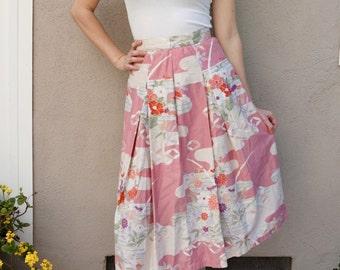 Vintage Pink Floral Skirt, Mid Length Skirt, Spring Summer Pink Skirt, Feminine Cotton Skirt