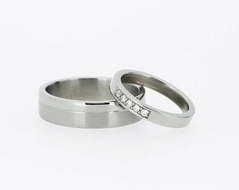 palladium wedding band set diamond ring diamond wedding ring mens palladium ring - Palladium Wedding Rings