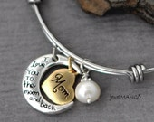 Mother Gifts / Gifts for Mom / I love you to the moon and back, Bangle, bracelet, heart, freshwater pearl, adjustable, moon, Christmas gifts