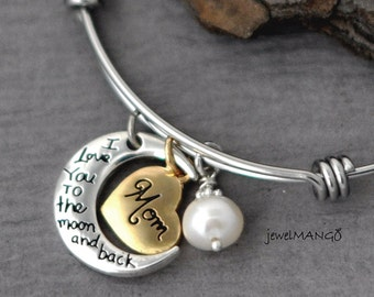 Mom / Mother Gifts / Gifts for Mom / I love you to the moon and back / Bangle, bracelet, heart, freshwater pearl, adjustable,moon,real pearl