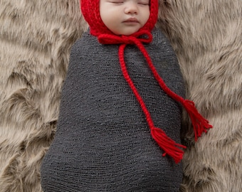 Baby Girl Hat Baby Boy Hat 0 to 3 Month Red Baby Hat  Whimsical Photo Prop Pixie Baby Hat Pixie Elf Baby Hat Little Red Riding Hood Prop
