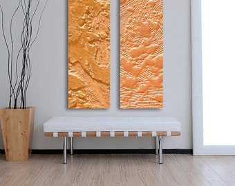 Gold Industrial abstract painting / CUSTOM 2 paintng set / 40 Inch x 15 Inch /  Melted Metal Painting  / AcryliCrete/ Gold, bright gold