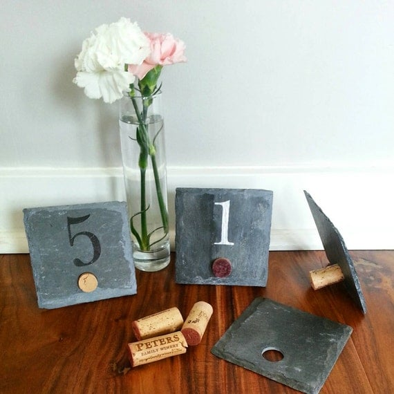 Wine Cork Table Numbers: 4x4 Stand-alone Wine Cork Slate Table By ScatteredTreasures