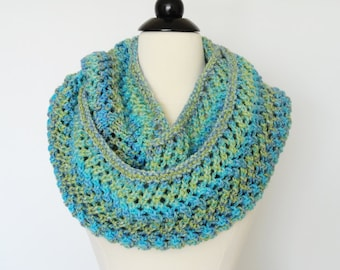 Infinity Hand Knit Cowl, Womens Accessories, Neckwarmer, Gifts For Her, Light Green, Blue, Purple, Fashion Winter Warm Cowl, Circular Scarf