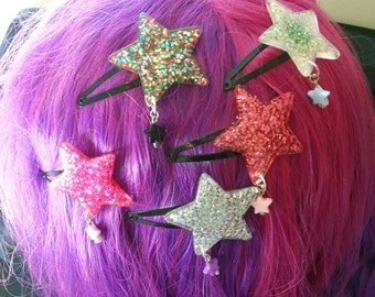 Shooting Star, glitter star hairclip, choice of five sparkling colours.