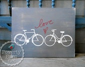 Love Spoke Hand Painted Wood Sign Bicycles Heart
