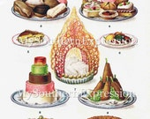 Mrs Beeton's Sweets Dish Display c 1907 Display Aged Vintage Cookbook Printable Image Download Illustrated Cookbook Page'