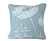 Designer Kravet Blue Linen Pillow Cover with Latte Piping