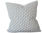 Schumacher Betwixt Pillow Cover in Zinc, Silver Grey