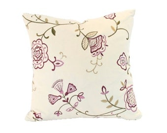 Decorative Pillow with Purple and Green Embroidered Flowers