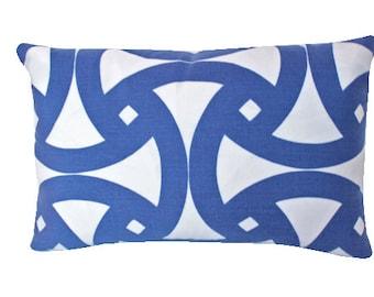 Marine Blue and Ivory Santorini Indoor Outdoor Schumacher Lumbar Pillow Cover,