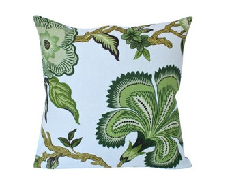 Green Hothouse Flower Schumacher Designer Pillow Cover