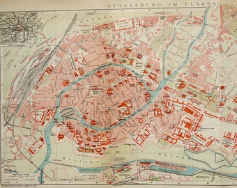 1900 Antique city map of STRASBOURG, FRANCE. 117 years old map.