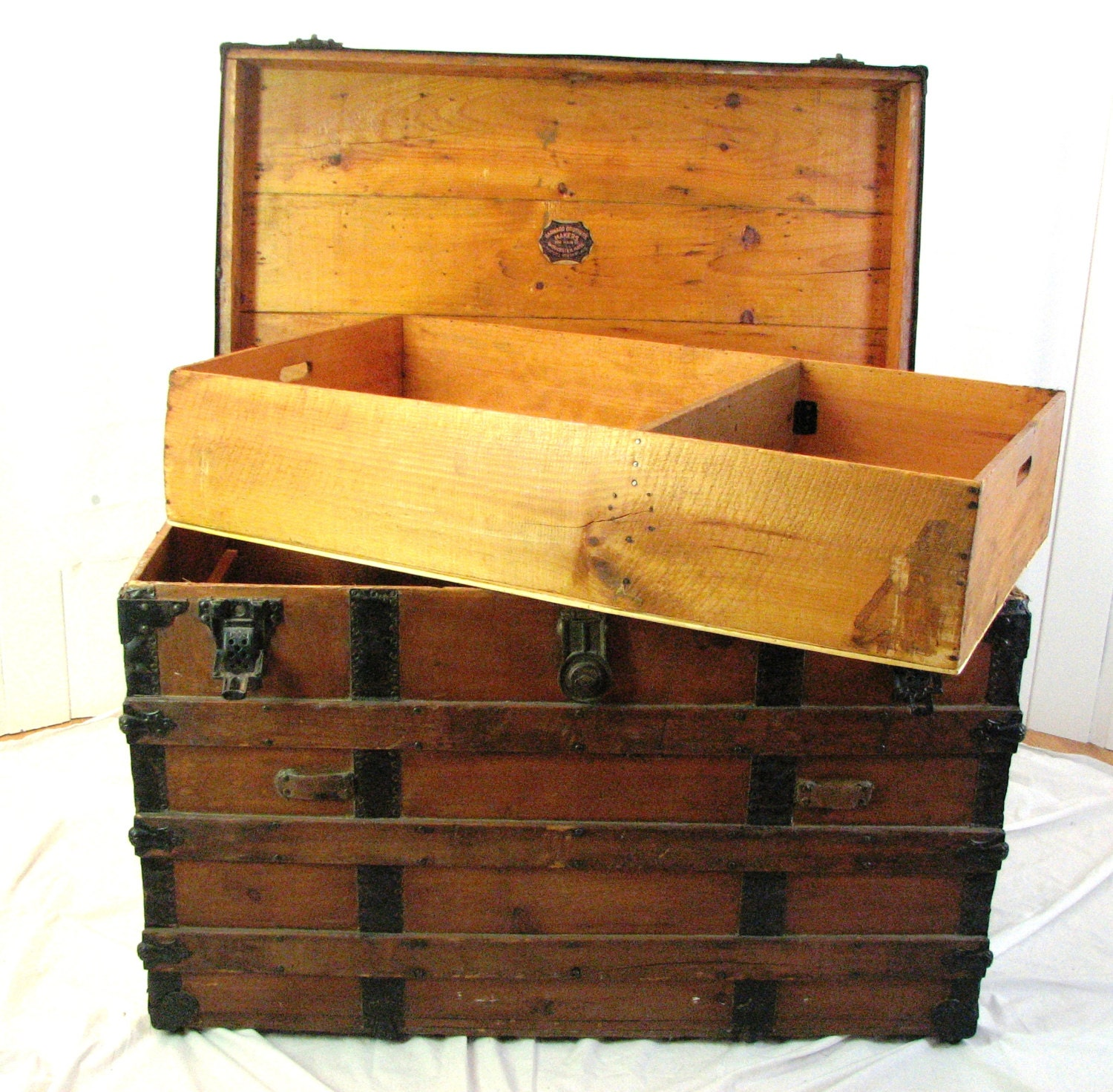 Antique Wooden Trunk Barnard Brothers 1910 1915 Vintage Trunk Slat Wood Chest Coffee