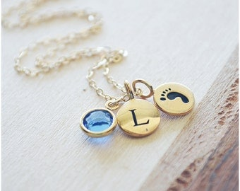 Mommy Necklace - New Mom Jewelry - Birthstone Necklace - Baby Birth - Initial Necklace - Bronze & Gold Filled
