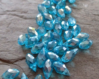 12 mm crystal faceted glass briolette bead teardrop top drilled clear pond blue aqua sky, lot of 8 pcs