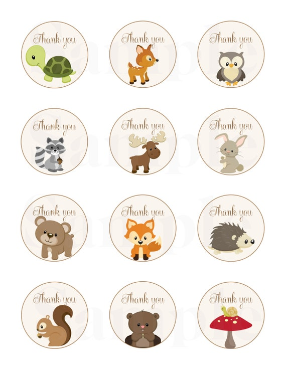 Woodland Friends Forest Animals Theme Baby Shower Thank