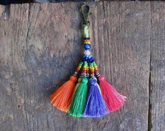 Silk Tassel Rainbow Keychain Neon Keychain Tassel purse charm purse decoration Mini Tassels  Silk Tassels Wholesale tassels