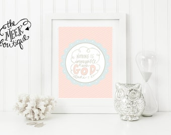 INSTANT DOWNLOAD, Scripture Printable, Nothing Is Impossible, Luke, No. 143