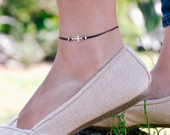 Anklet with cross, ankle bracelet with silver cross charm, christian catholic jewelry, brown cord, gift for her, bridesmaids gift