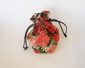 Drawstring Makeup Bag - =Red Roses & Black - Japanese Fabric - Asian Fabric - Makeup Pouch - Small Bag - Cosmetic Bag - Adorable Jewelry Bag