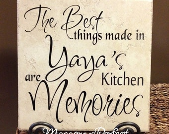 The Best Things Made in Yaya's Kitchen are Memories Vinyl Art Decorative Tile