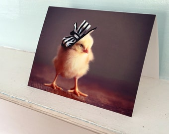 Greeting Card Chicks in Hats Photo Card Chicken Wearing A Derby Hat Baby Animals