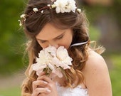 Flower crown, rustic head wreath, wedding headband, bridal hair, wedding crown, ivory floral crown