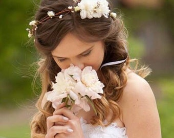 Flower crown, rustic head wreath, wedding headband, bridal hair, wedding crown, ivory floral crown