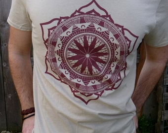 Indian Lotus Mandala - Printed in Rusty Maroon on a Sand Cream Colored SoftStyle Cotton Tshirt